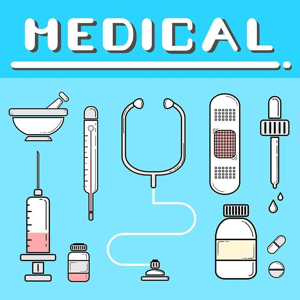 Satz flache medizinische Werkzeuge auf Blau vektor