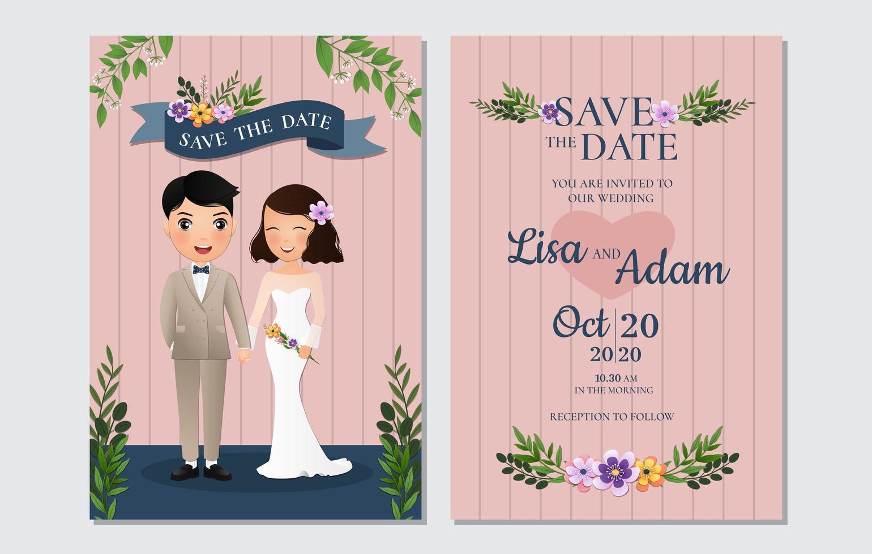 gestreift speichern Sie die Datumskarte mit Braut und Bräutigam vektor