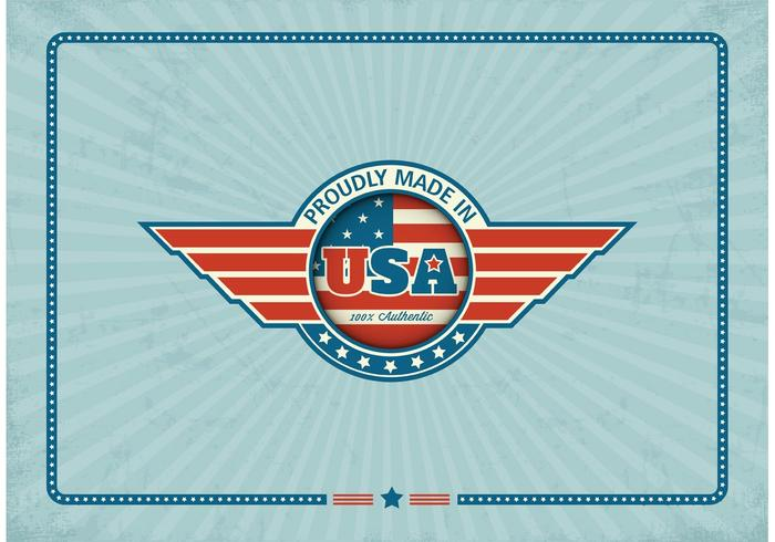 Fri Made In USA Retro Vector Etikett