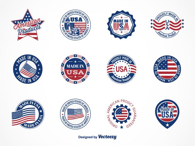 Gratis Vector Made In USA Etiketter