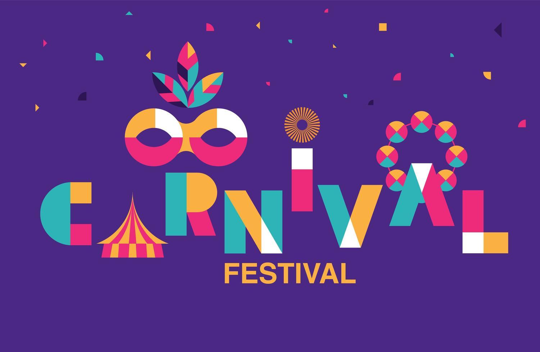 karneval typografi banner med mask och tält vektor