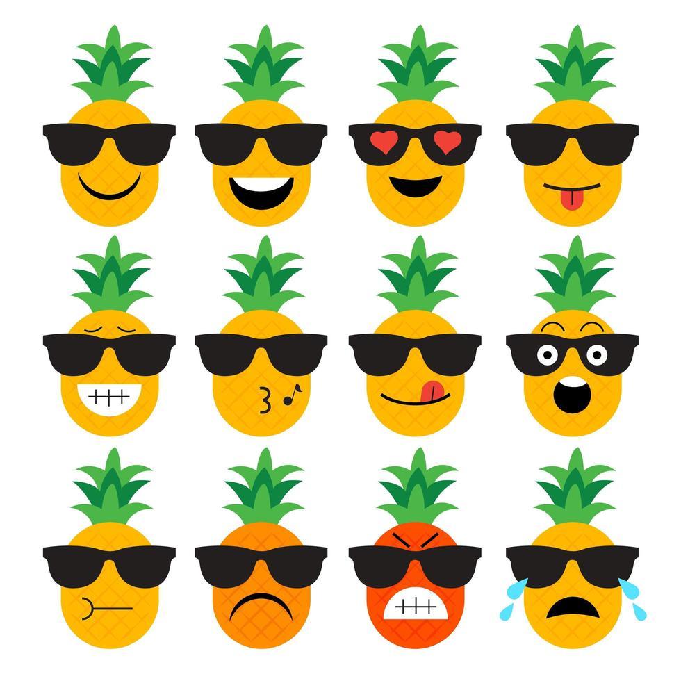 ananas frukt emoji uppsättning vektor