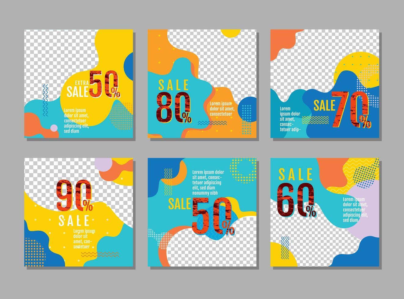 Verkaufskartenset mit welligem Design für Foto vektor