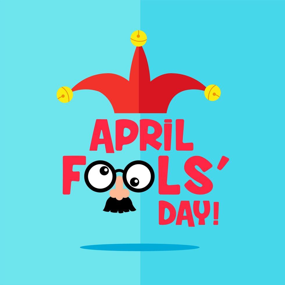 platt stil aprilfusk dagskort med mask vektor