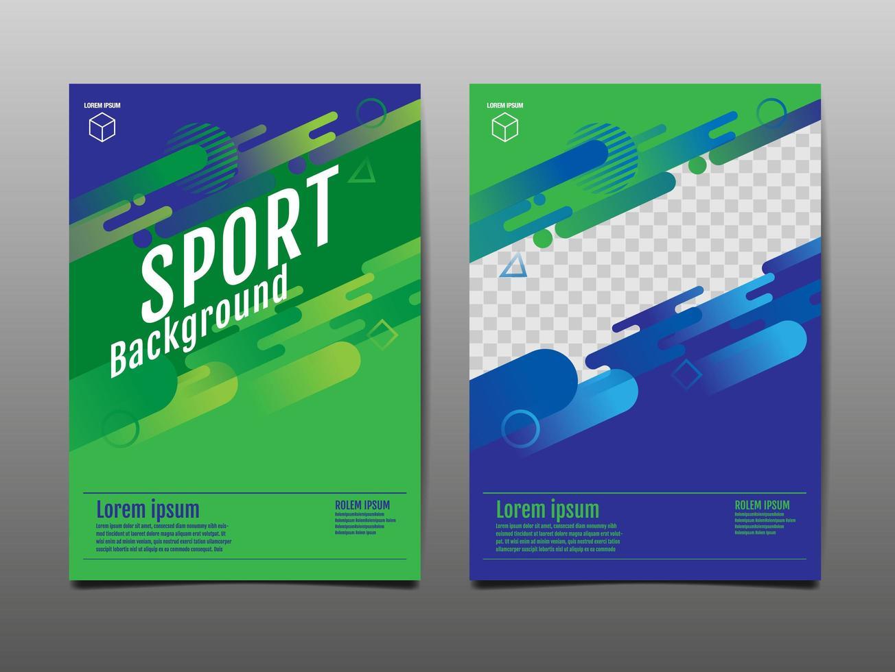 Sport grün und blau Vorlage vektor