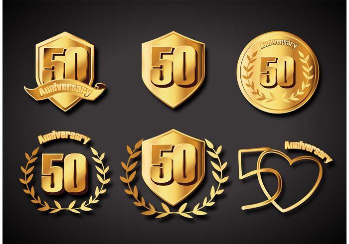 50 års jubileumsemblem vektor