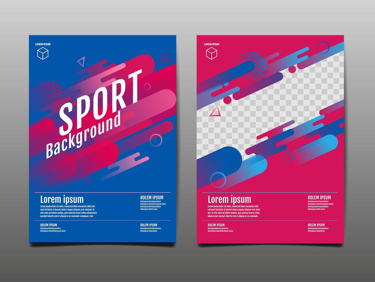 sportig rosa och blå täckmall vektor