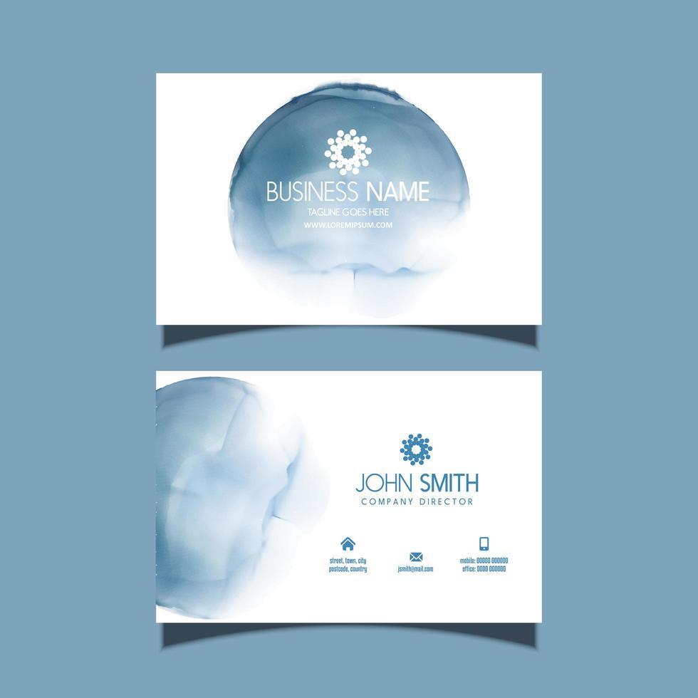 visitkort med blå akvarell design vektor