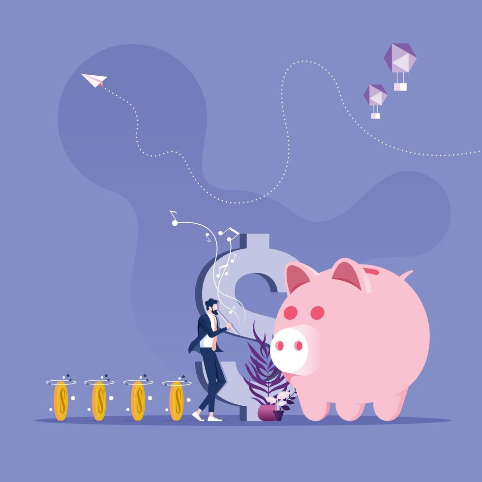 Geschäftsmann spielt Flöte wie Rattenbeschwörer, der Geld zum Sparschwein führt vektor