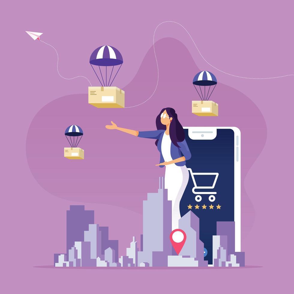 online-shopping och leveransservicekoncept vektor