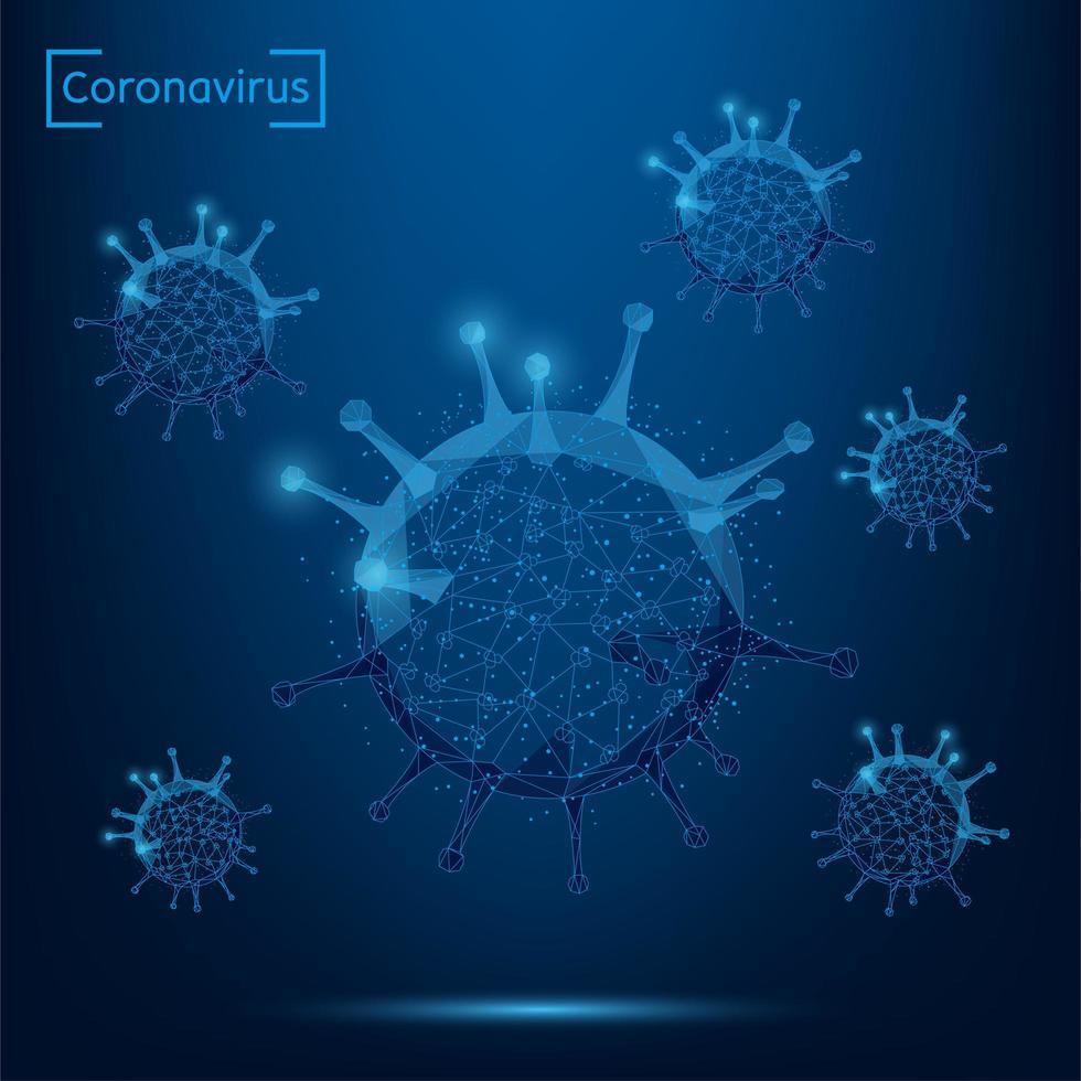 abstrakte Linie und Punkt Coronavirus-Zelle auf blauem Hintergrund vektor