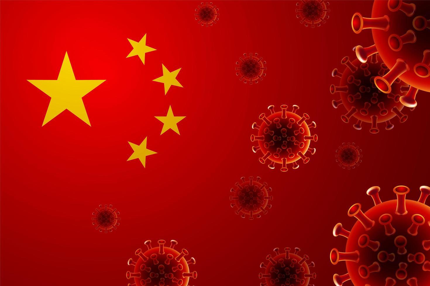 chinesische Flagge mit Viruszellen vektor