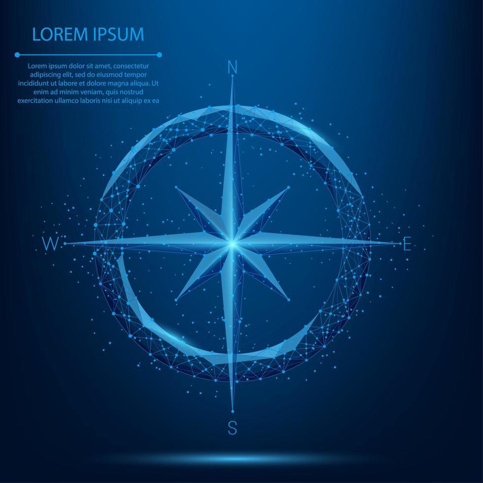linje och punkt låg poly kompass vektor