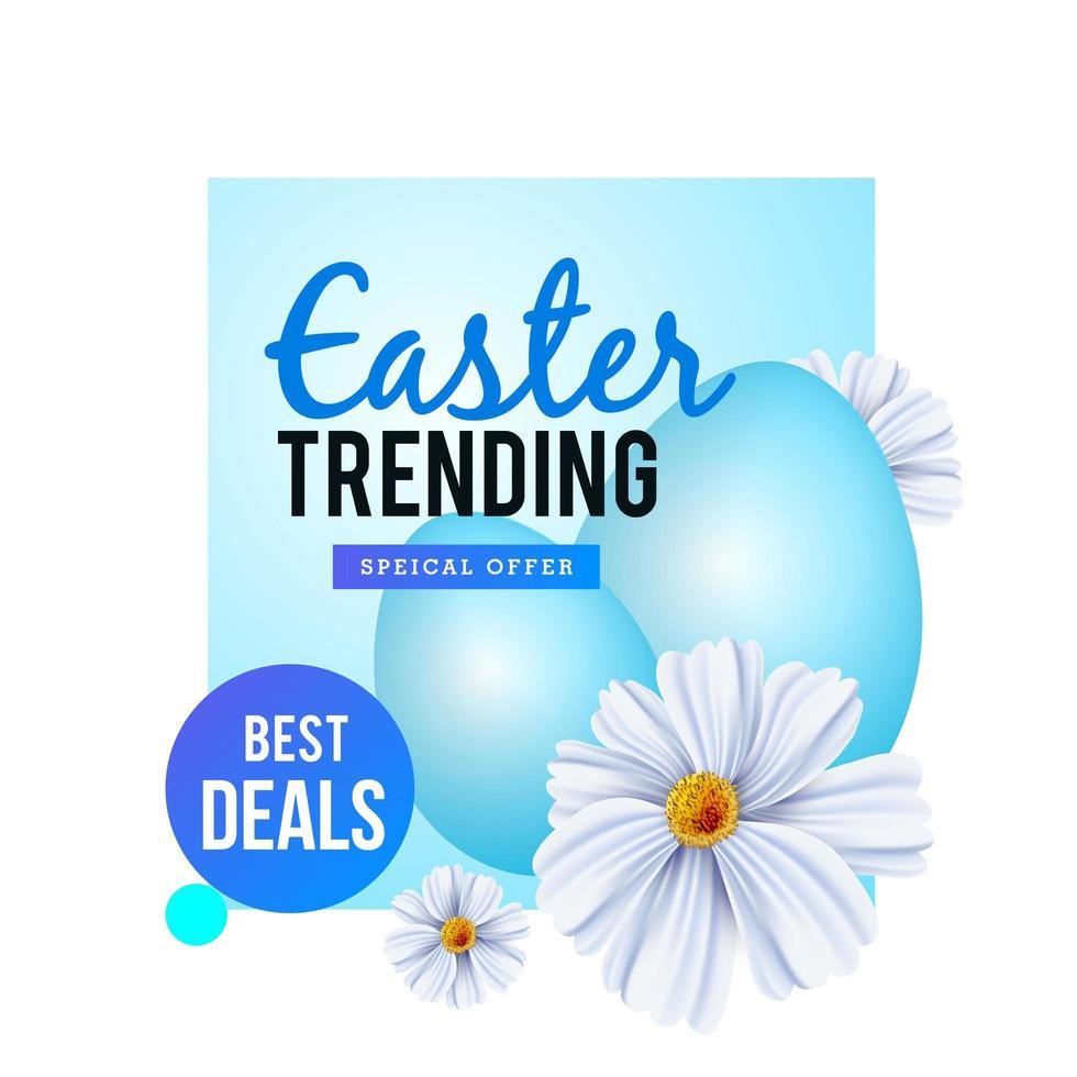 trendande påskdesign med blå ägg och blommor vektor