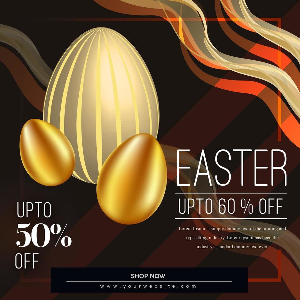 påsk försäljning affisch med böjda linjer och gyllene ägg vektor
