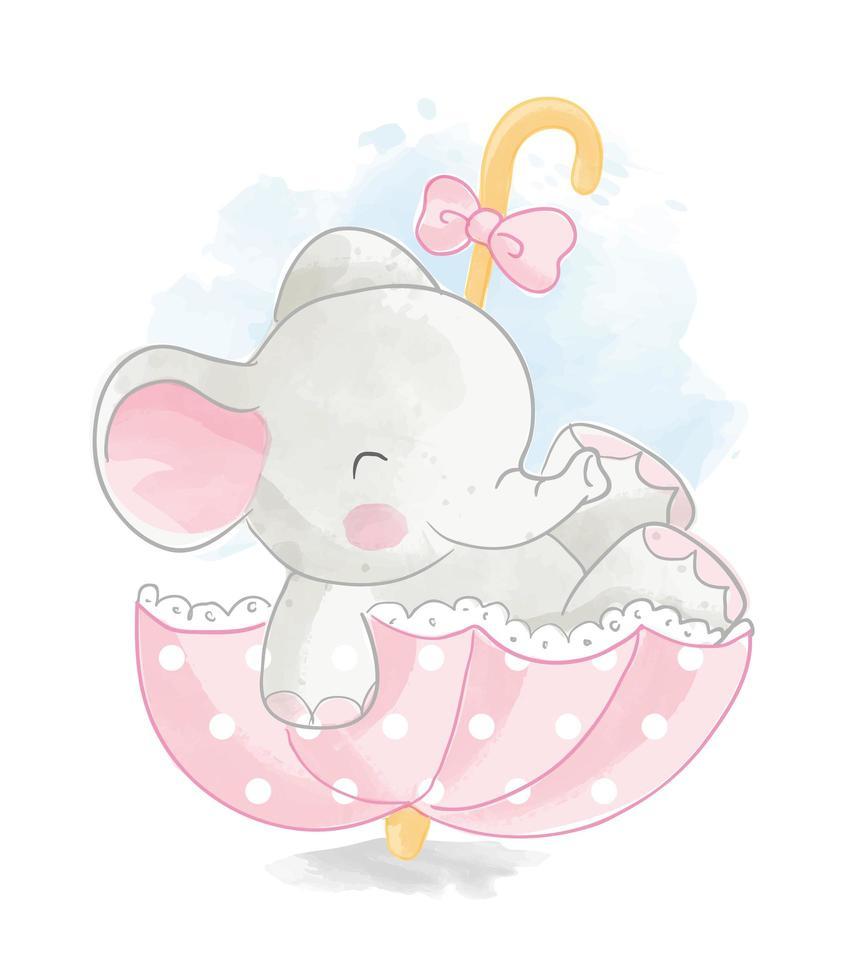 grauer Elefant im rosa gepunkteten Regenschirm vektor