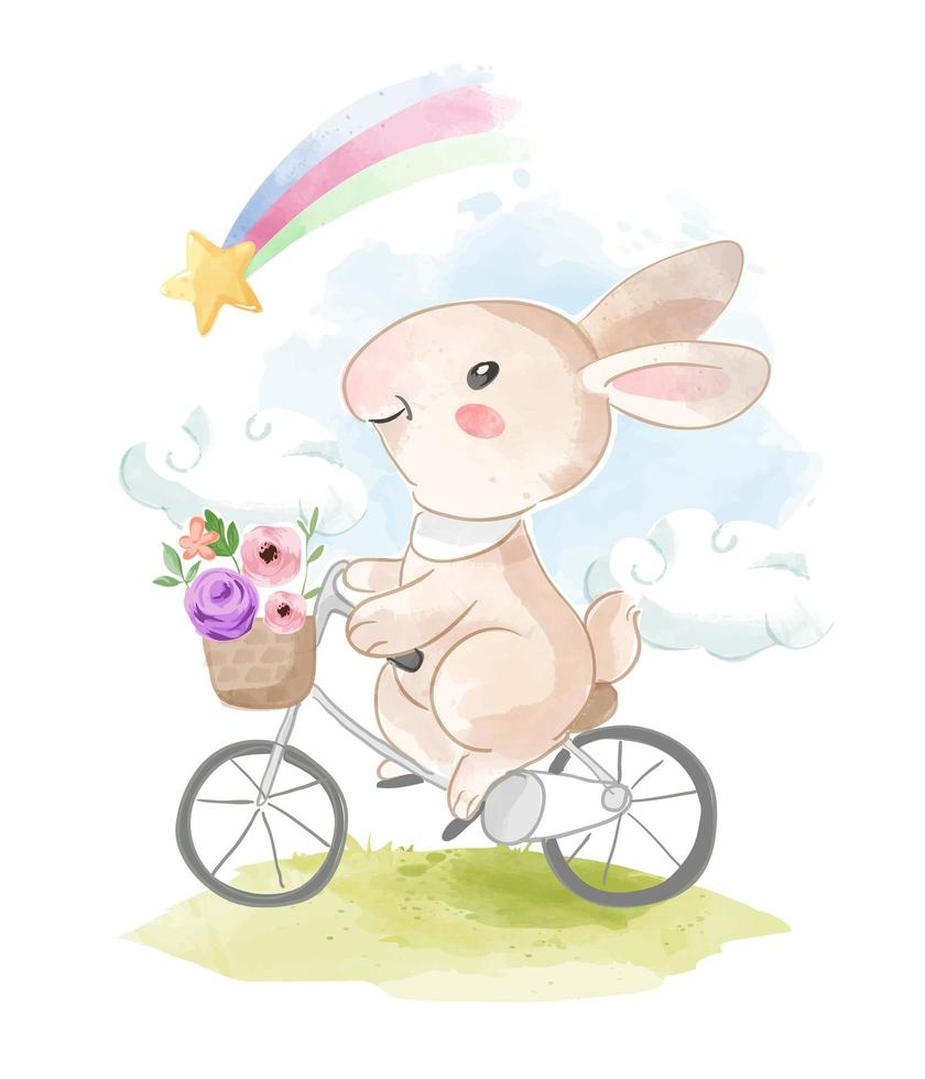 kanin ridning cykel tittar på regnbågen vektor