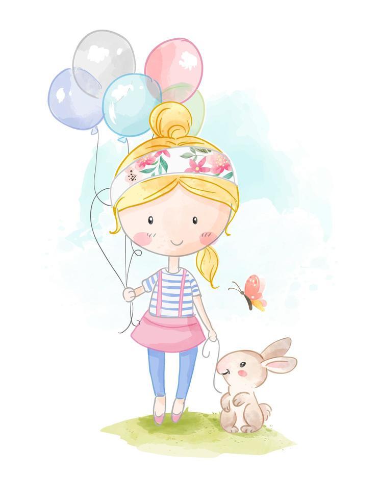 flicka håller ballonger och kanin vektor