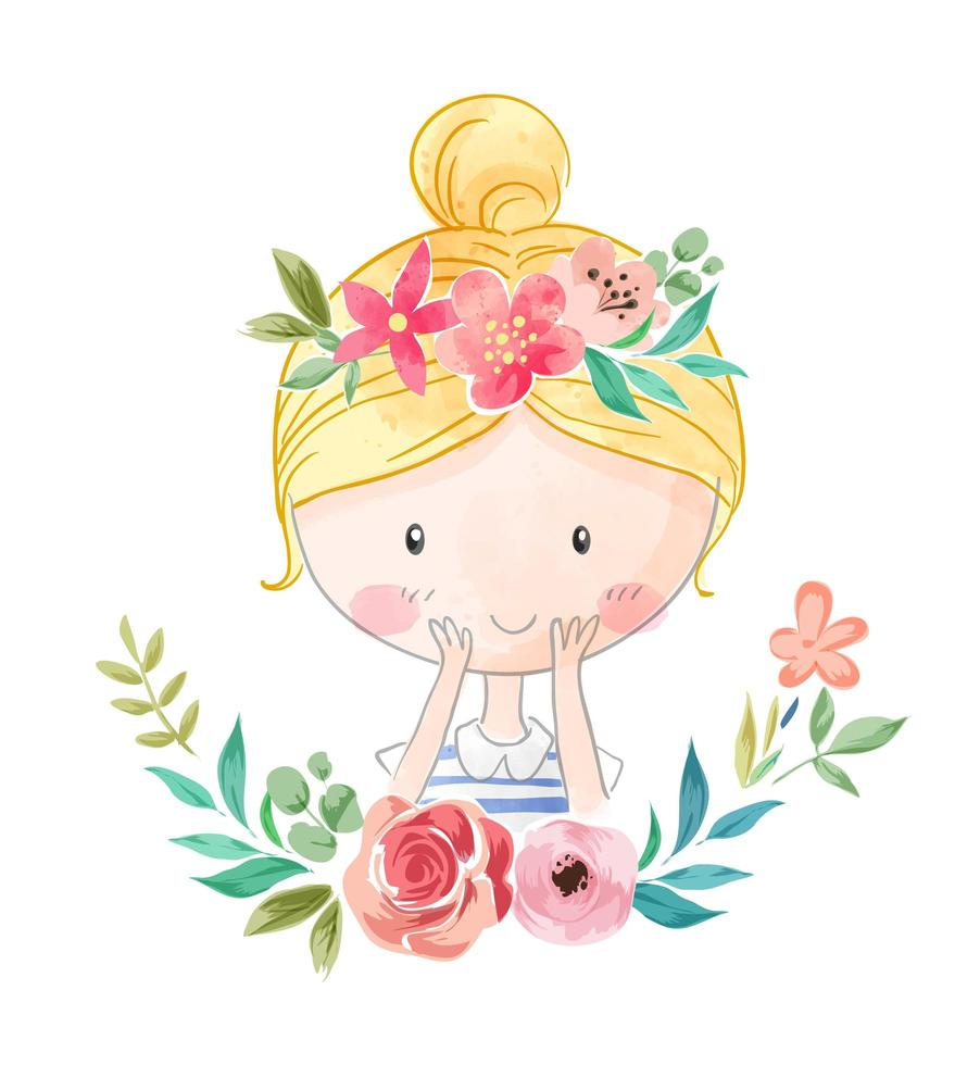 flicka i blommig krona vektor