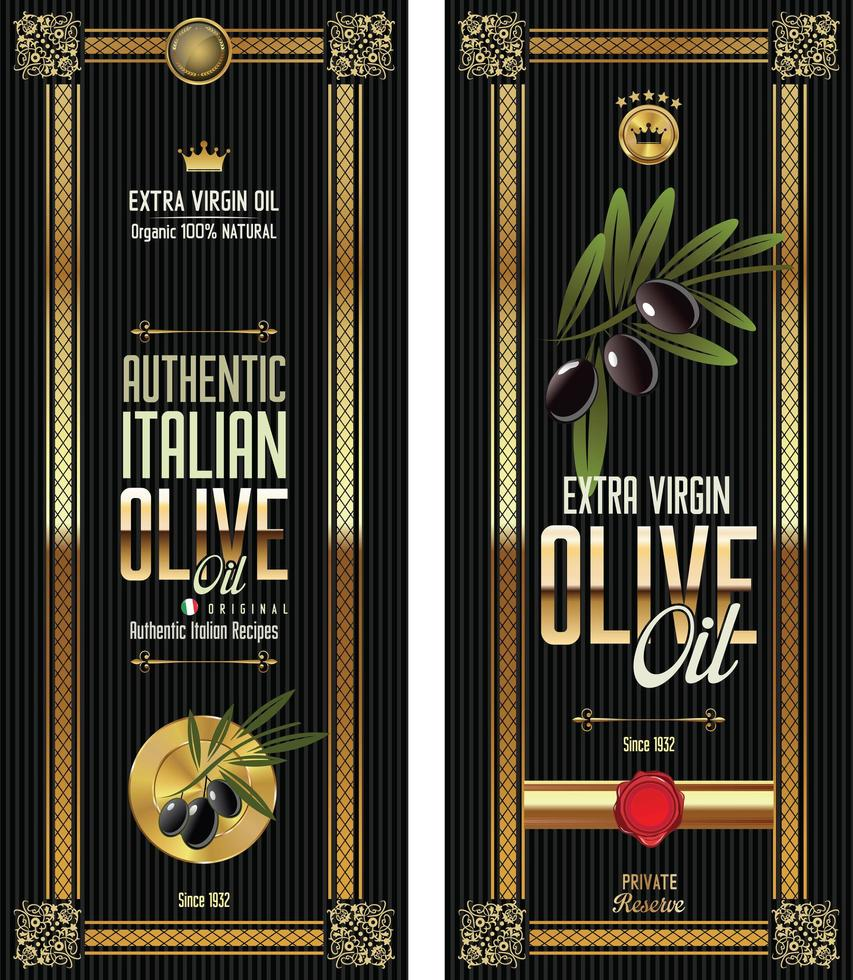 Olivenöl Retro Etiketten Set vektor