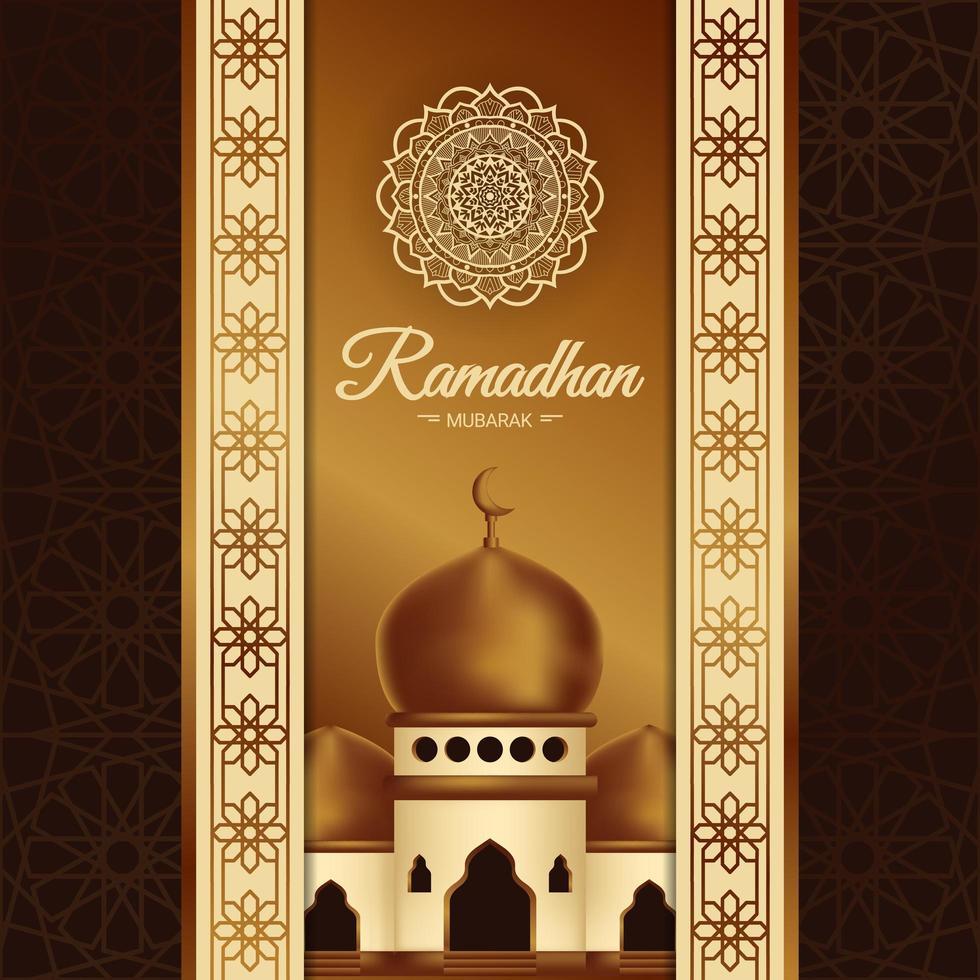 ramadan mubarak affisch med moské och elegant mönster vektor