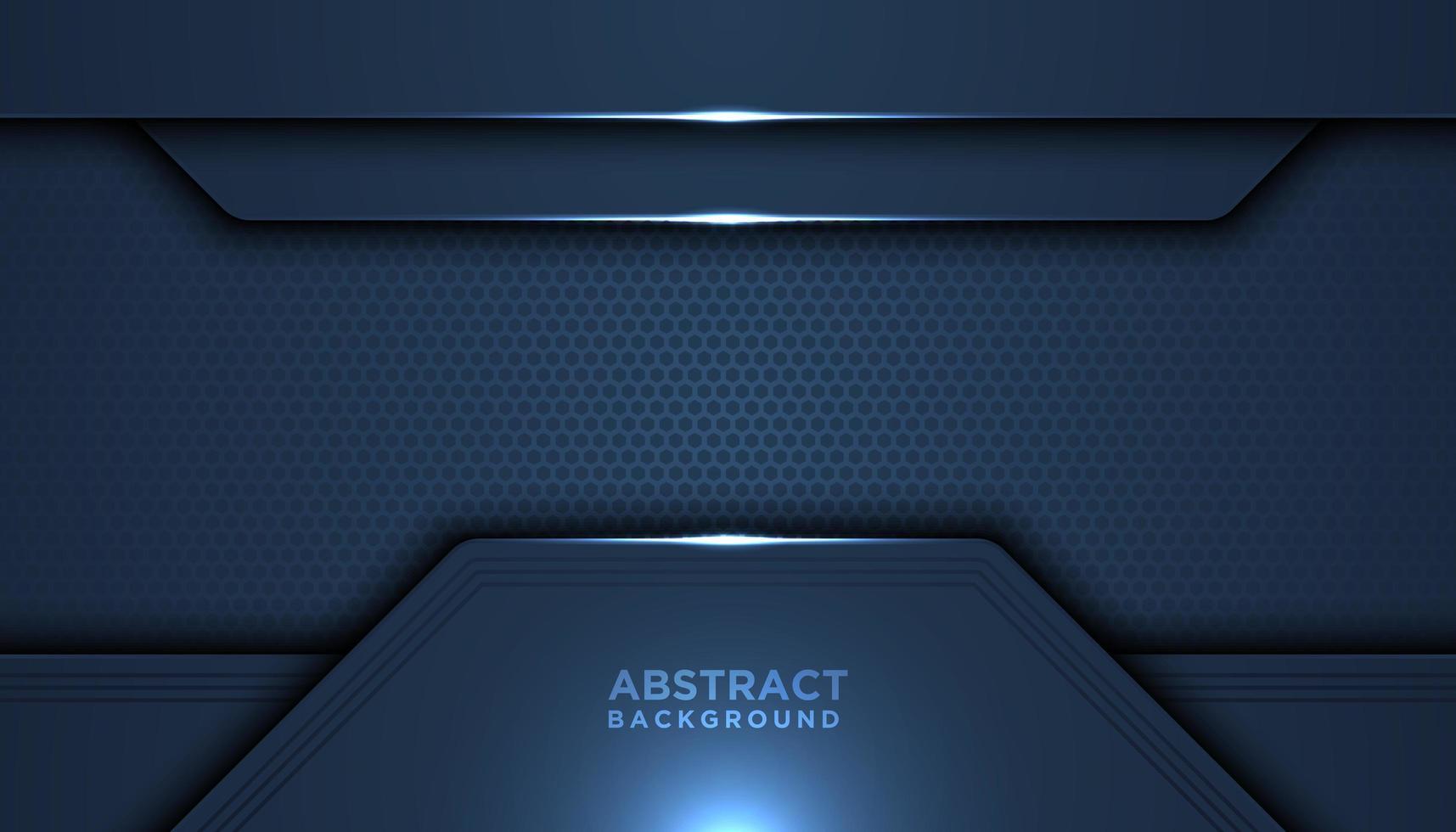 mörkblå mesh tech överlappande lager vektor
