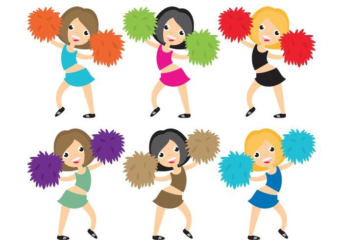 Vektor Cheerleader mit Pom Poms