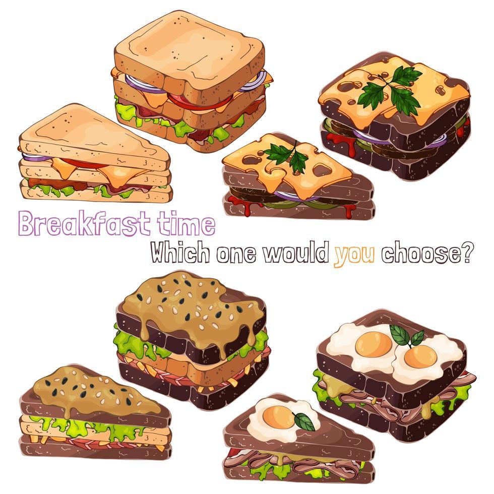 smörgåsar brödslag vektor