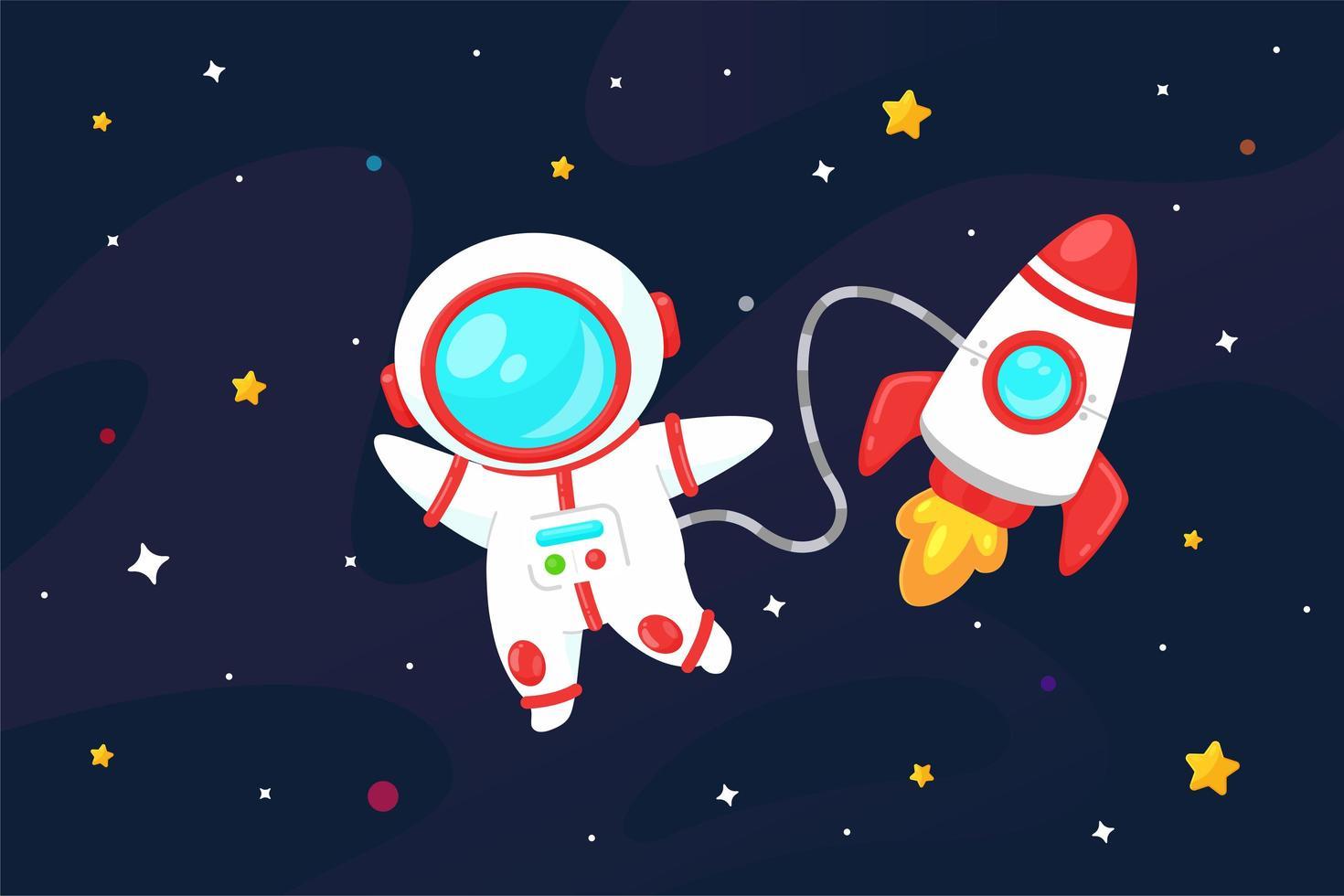 astronaut med ett rymdskepp vektor