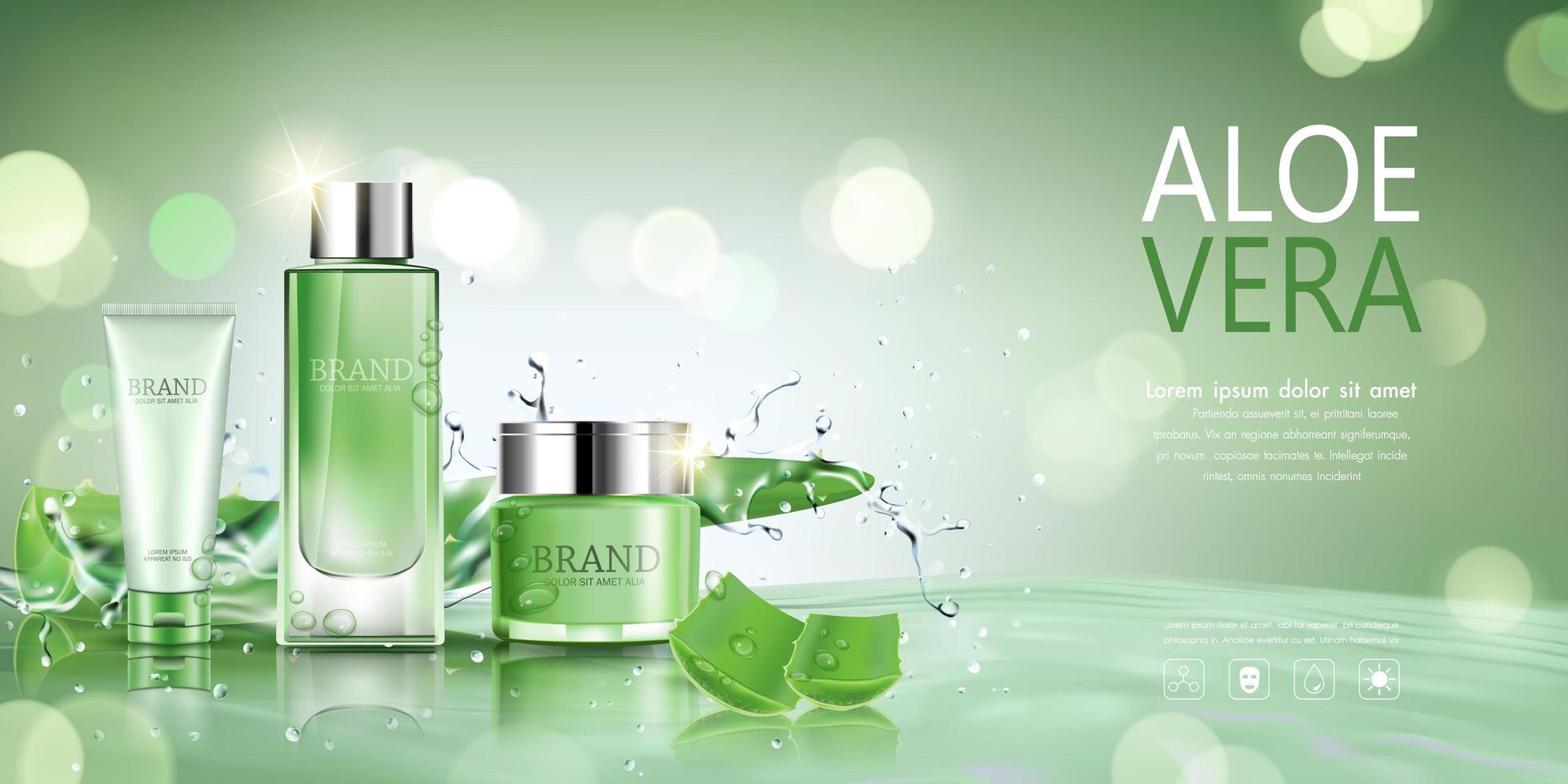 Kosmetikflasche mit Aloe Vera und Wasserhintergrund vektor