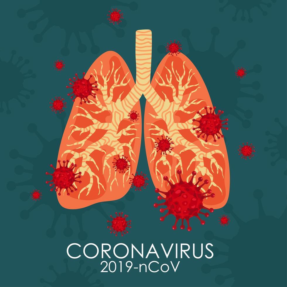 covid-19 i lungorna vektor