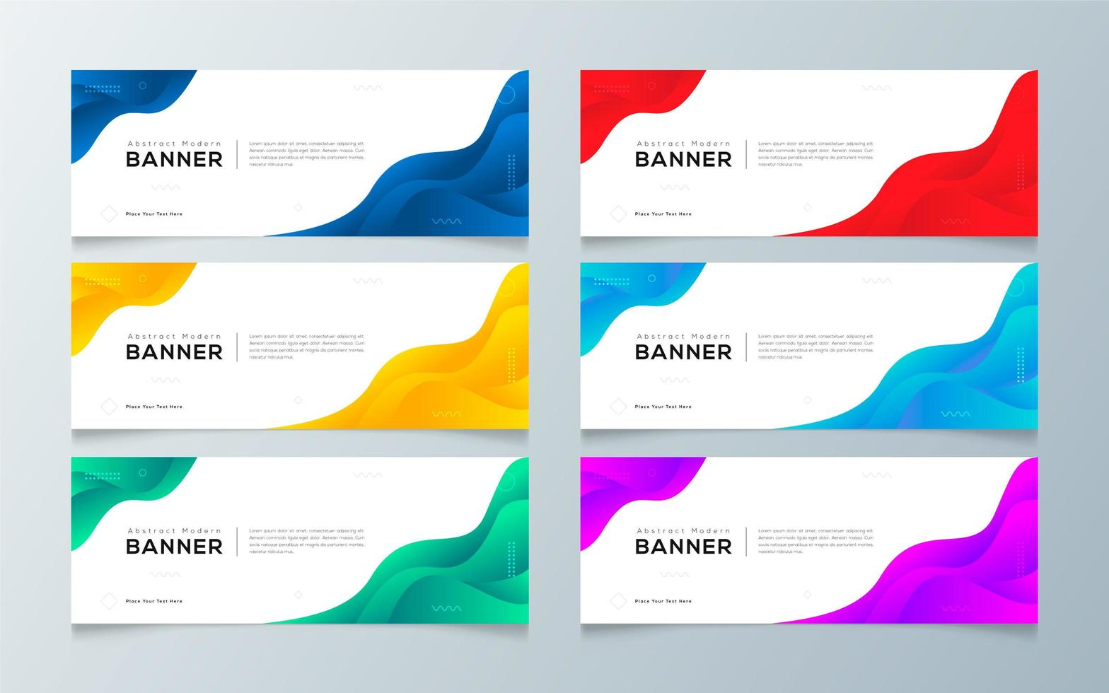 modern gradient abstrakt banner malluppsättning vektor