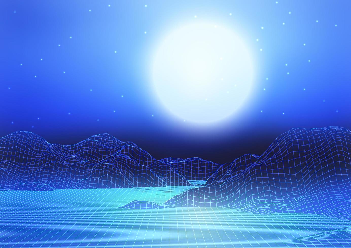 abstrakt wireframe-landskap med måne och stjärnhimmel vektor