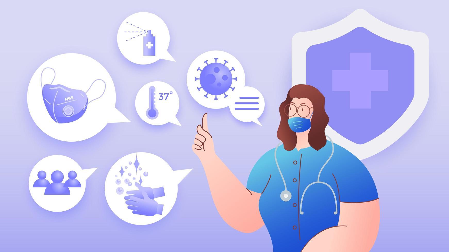 kvinnlig läkare som föreslår hur man skyddar mot coronavirus vektor