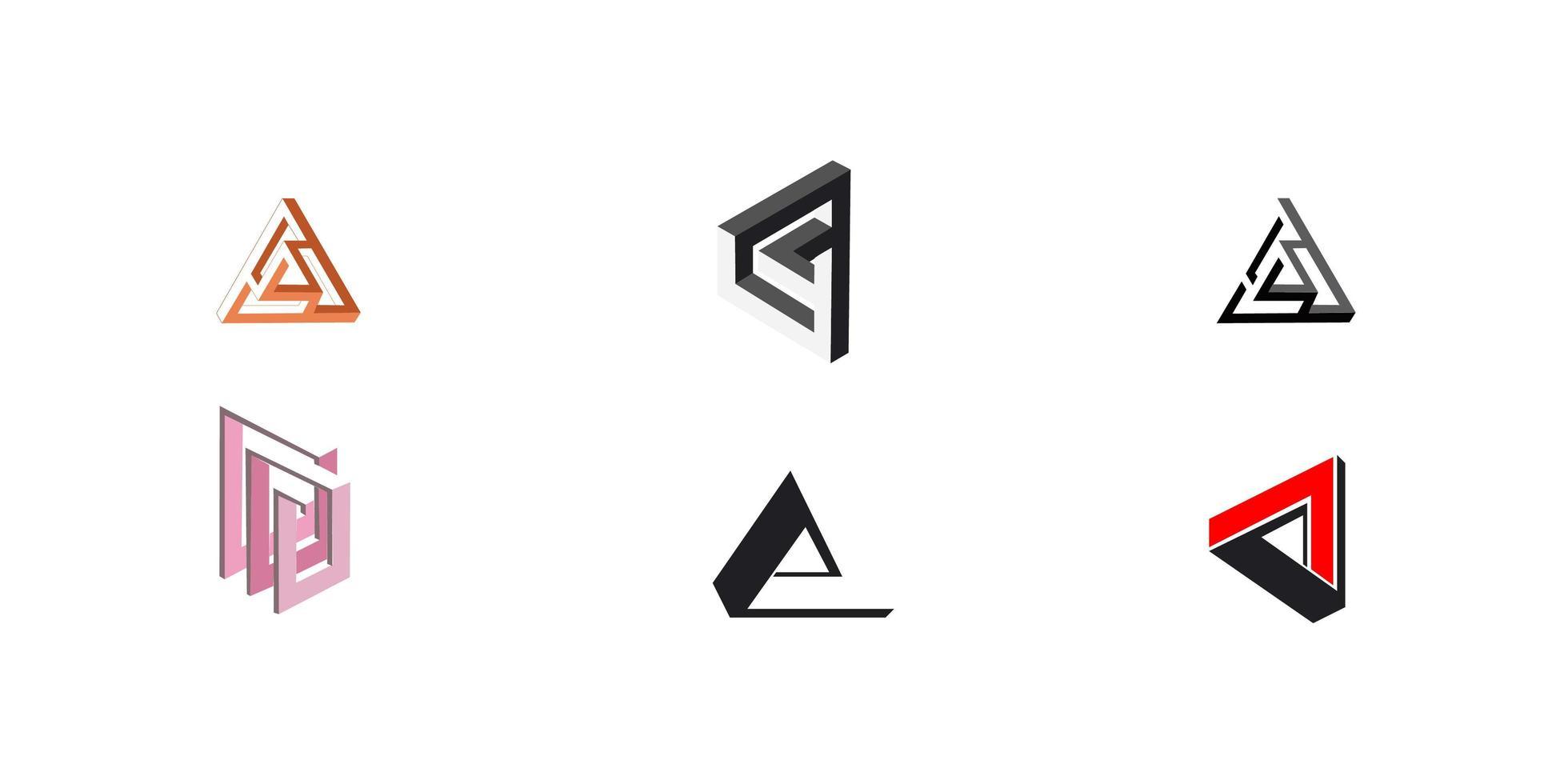 uppsättning abstrakta triangulära ikoner vektor