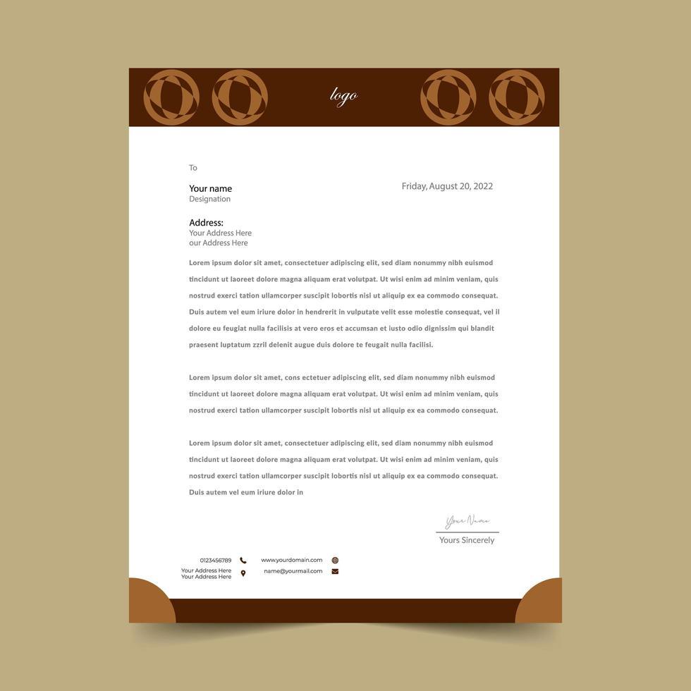 braune abstrakte Briefkopfschablone mit runder Form vektor