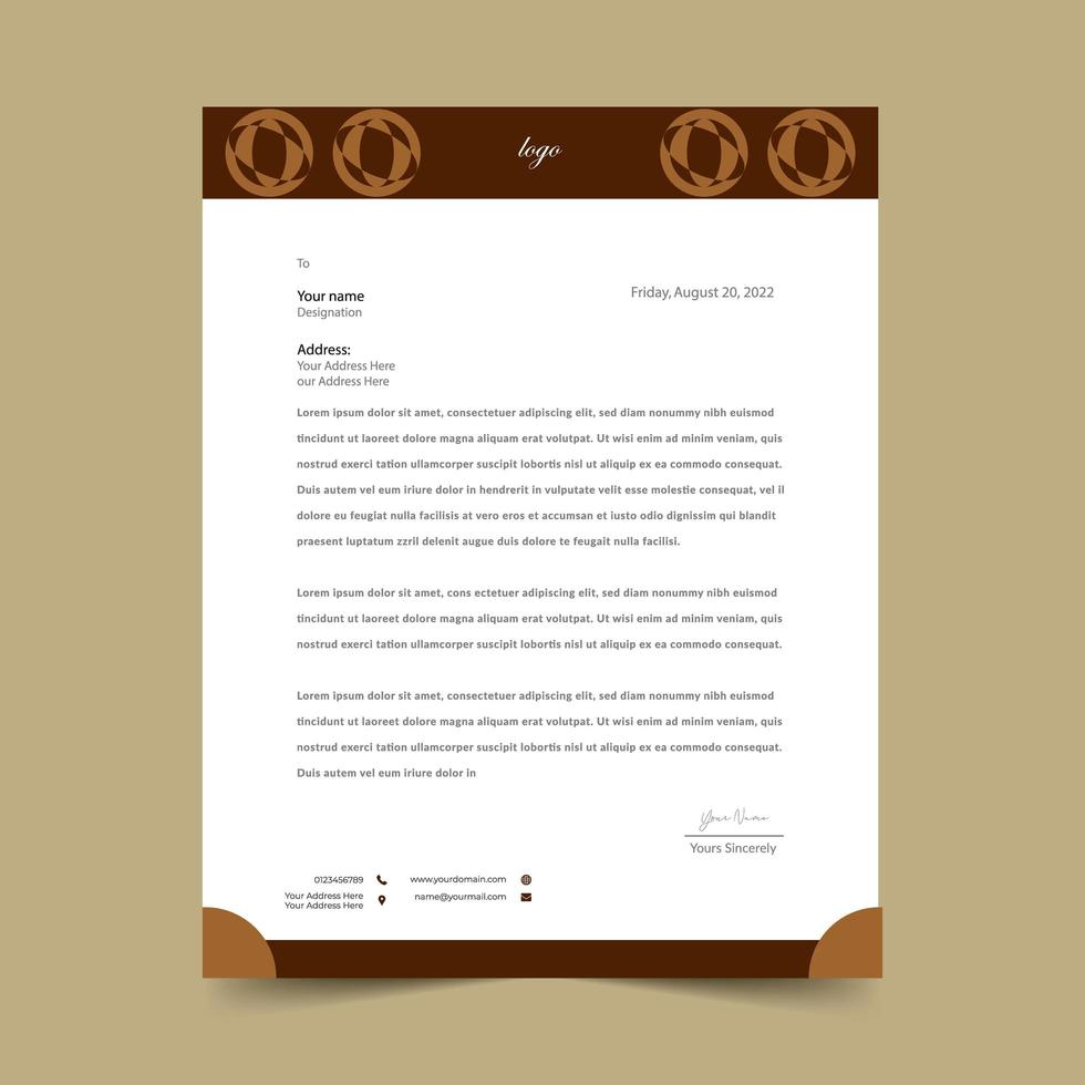 brun abstrakt rund form brevpappermall vektor