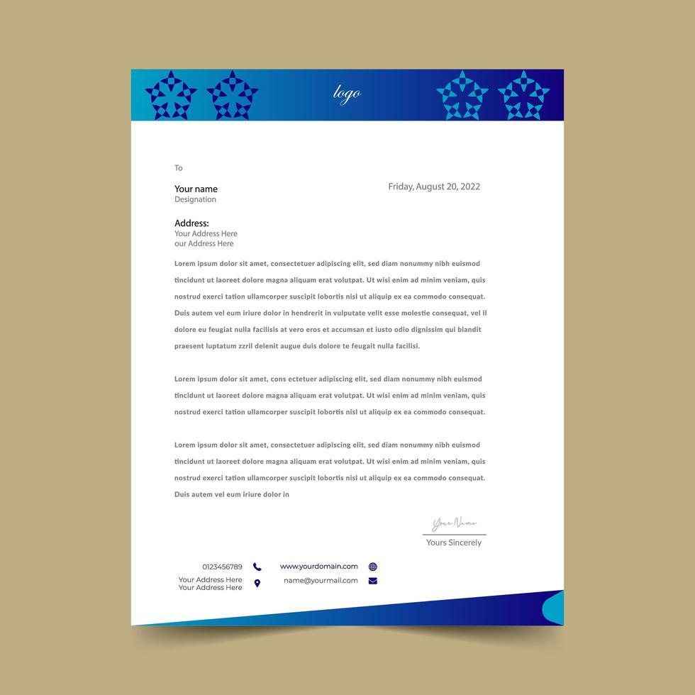blå brevpappermall med stjärnformsdesign vektor