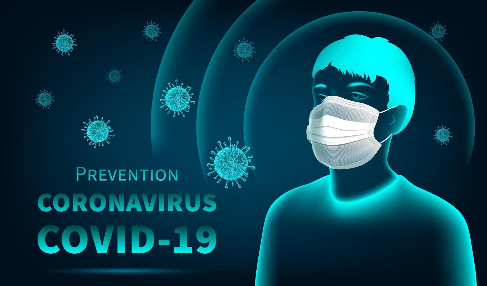 Coronavirus-Schutzkonzept mit Mann, der Maske trägt vektor