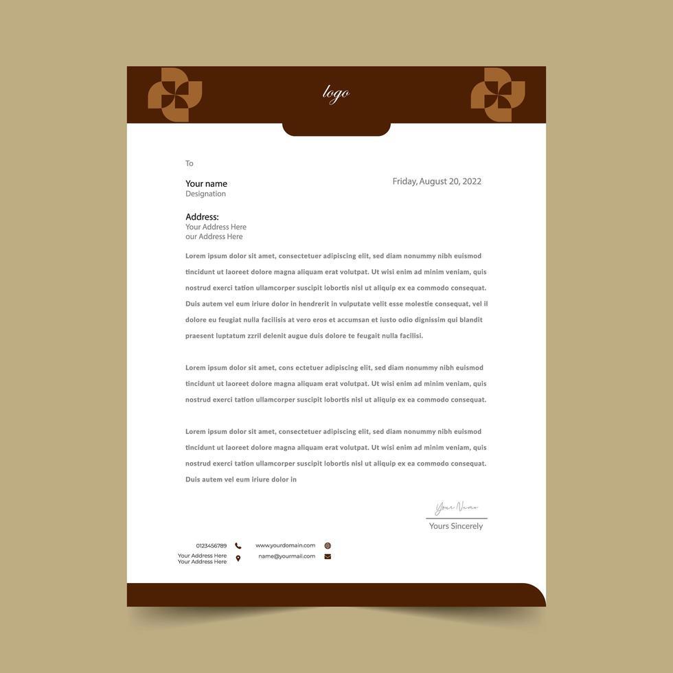 brun enkel brevpappermalldesign vektor