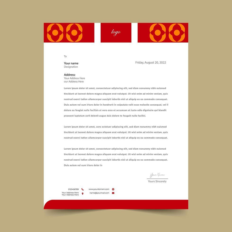 ljusröd brevpappermalldesign vektor