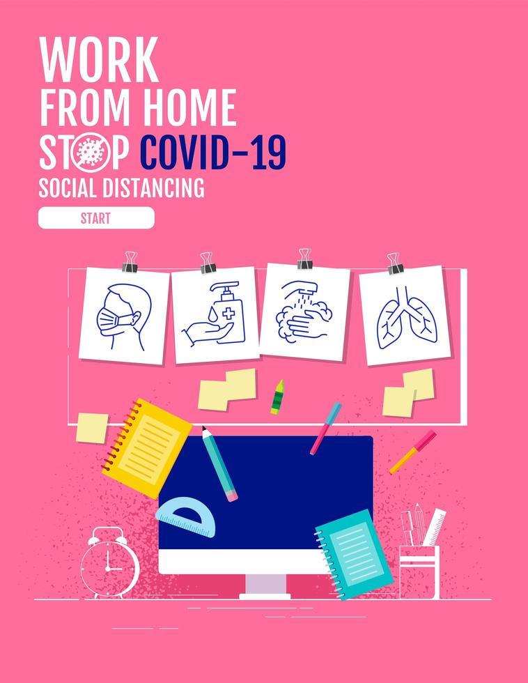 affisch med dator- och coronavirus-skyddsikoner vektor