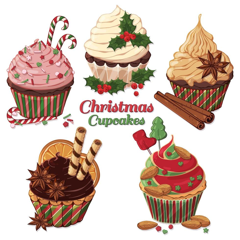 Satz Weihnachtscupcakes mit Süßigkeiten verziert vektor