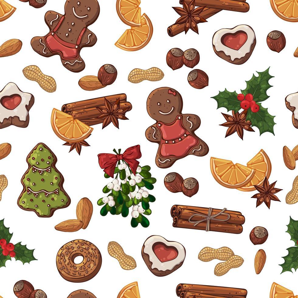 nahtloses Muster von Weihnachtssüßigkeiten, Früchten und Nüssen vektor