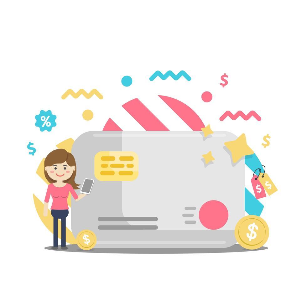 kvinna som står vid stort kreditkort betalar online vektor