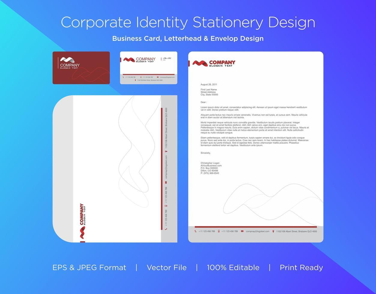 rödbrun abstrakt spiralform företagsidentitetsuppsättning vektor