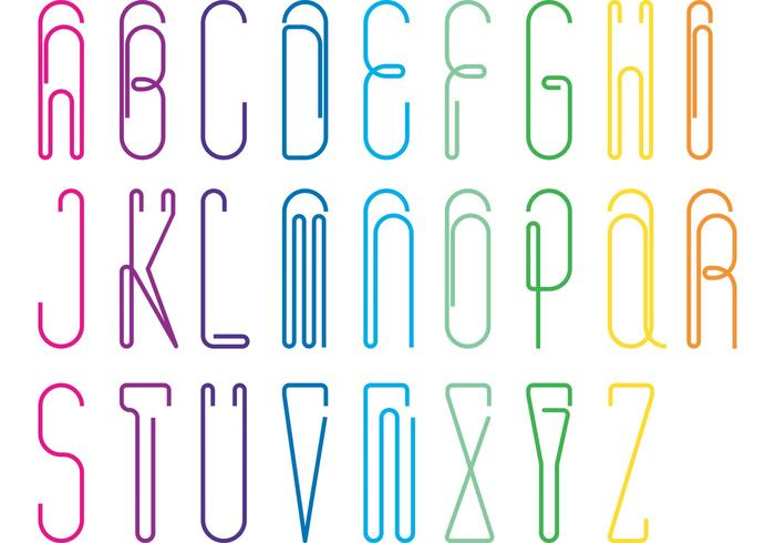 Papierklammer Alphabet Vector Pack