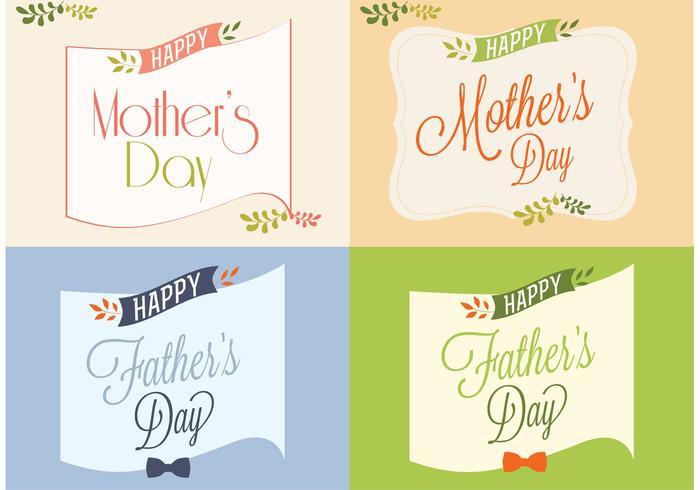 Karten des glücklichen Vaters und der Mutter Tages vektor