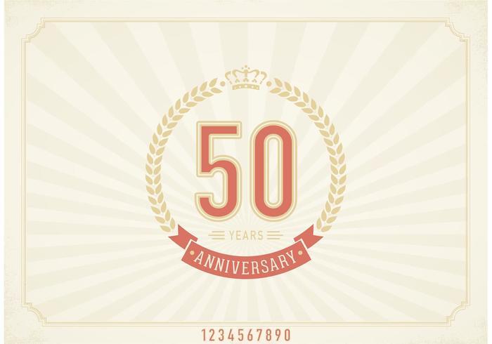 Free Vector Vintage 50 Jahre Jubiläums-Label