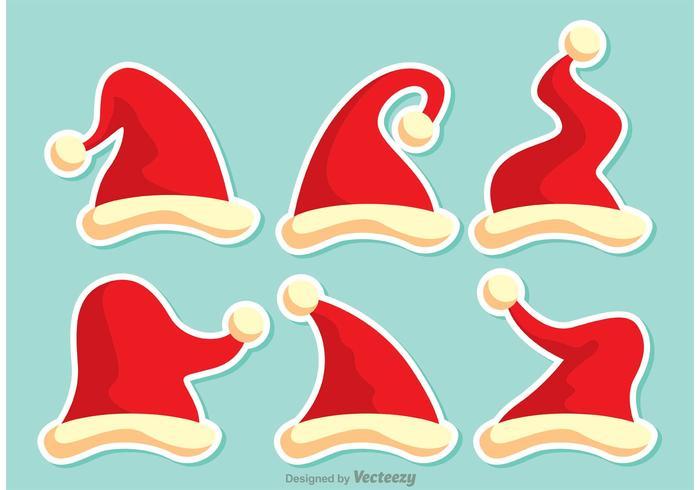 Set av röda Santa hattar vektor